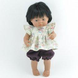 zestaw: tunika retro + bloomersy muślinowe, dla lalki Miniland 38cm