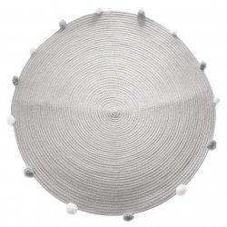 Dywanik do pokoju dziecięcego, okrągły, szary z pomponami