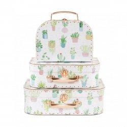 Sassand bell, zesstaw 3 walizeczek, pastelowe kaktusy
