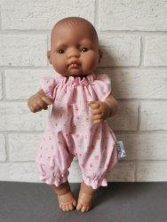 Olimi, ubranko dla lalki Miniland 32cm, różowe kwiatuszki