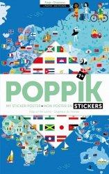 Poppik, wielki plakat wyklejanka, 200 naklejek, flagi świata