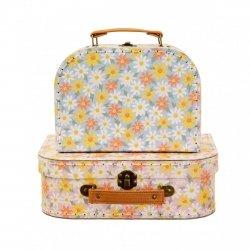 Sassandbell, zestaw 2 walizeczek pink daisy