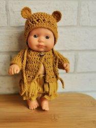 Olimi, czapeczka szydełkowa z uszkami dla lalki Miniland, 21cm, musztardowa