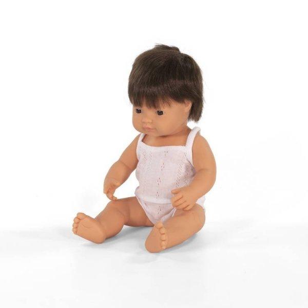Miniland, chłopiec Europejczyk z brązowymi włosami, 38cm