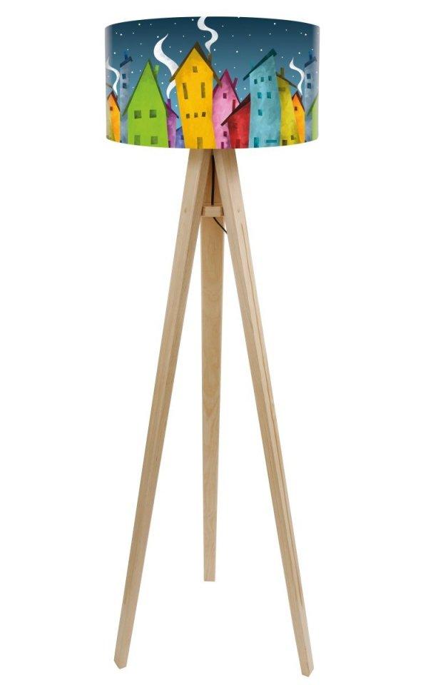 Macodesign, lampa podłogowa, bajkowe miasteczko, podstawa biała lub naturalna