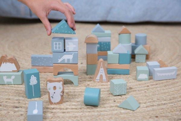 Little Dutch, zestaw drewnianych klocków, 50 szt. niebieskie