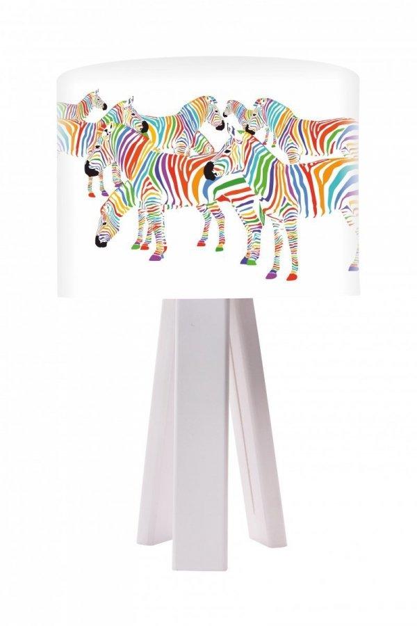 macodesign, lampka nocna, kolorowe zebry, biała lub sosnowa podstawa