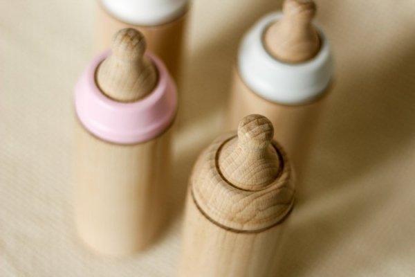 Miniland, drewniana butelka dla lalki, różana