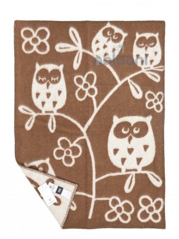 Klippan, pled z ekowełny, 65x90cm, 3 owls, brązowy