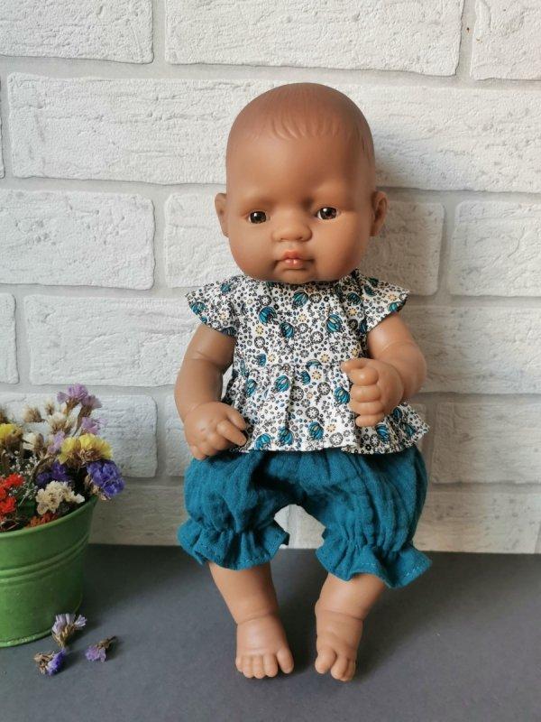 Olimi, tunika z bloomersami na lalkę Miniland, 32cm, turkusowe kwiatki