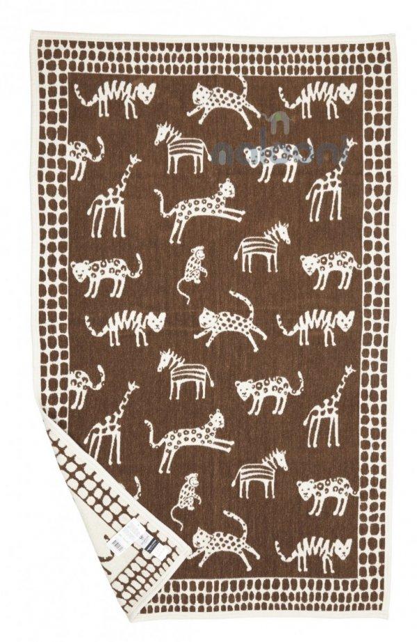 Klippan, pled z bawełny organicznej, wild animals, 90x140cm, brązowy