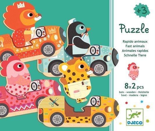 Djeco, drewniane puzzle 2-elementowe, zwierzątka w autkach