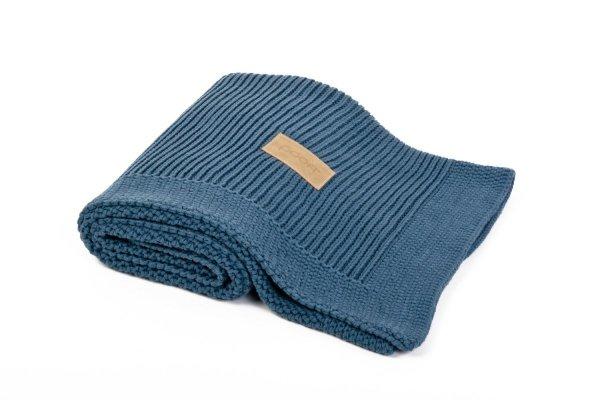 poofi, kocyk sweterkowy, z bawełny organicznej, morski