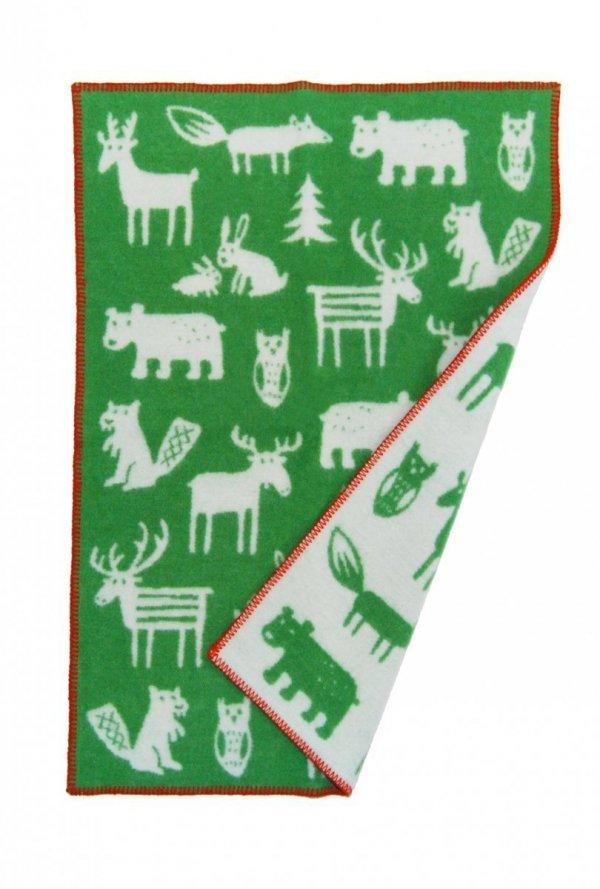 Klippan, pled z ekowełny, 65x90cm, Forest zielony