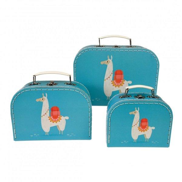 Rex, zestaw 3 walizeczek tekturowych, lamy