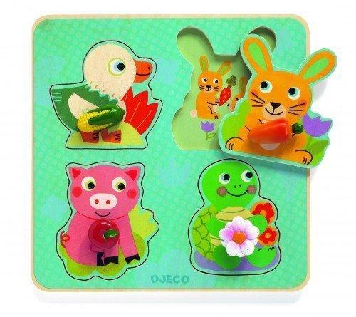 Djeco, puzzle drewniane, zwierzątka