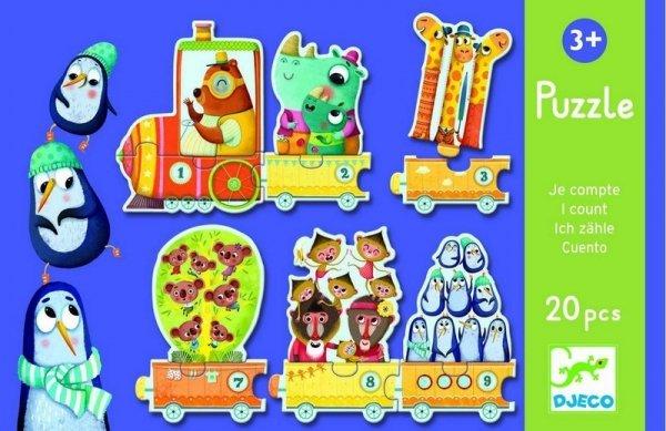 Djeco, puzzle tekturowe pociąg