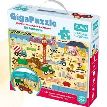 Trefl, giga puzzle, na budowie, z drewnianą figurką,Little Planet
