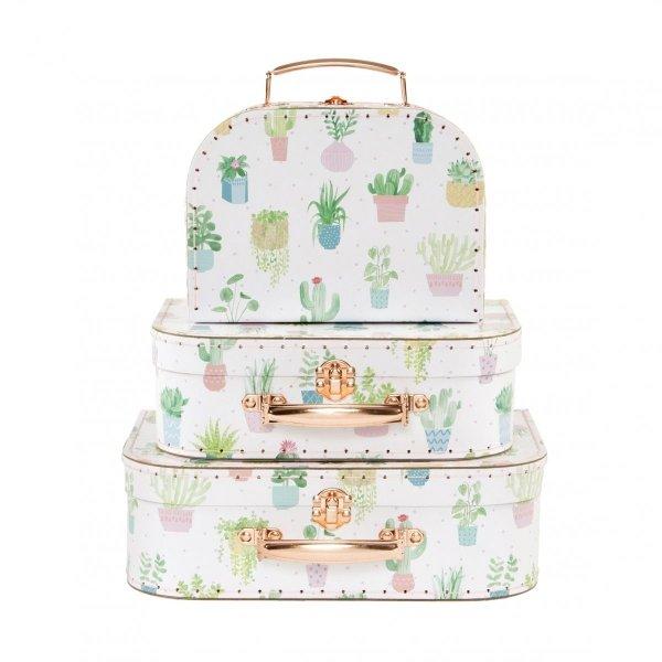 Sassand bell, zestaw 3 walizeczek, pastelowe kaktusy