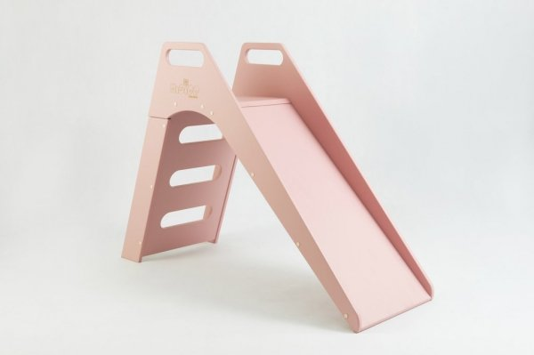 Misioo, drewniana zjeżdżalnia, różowa