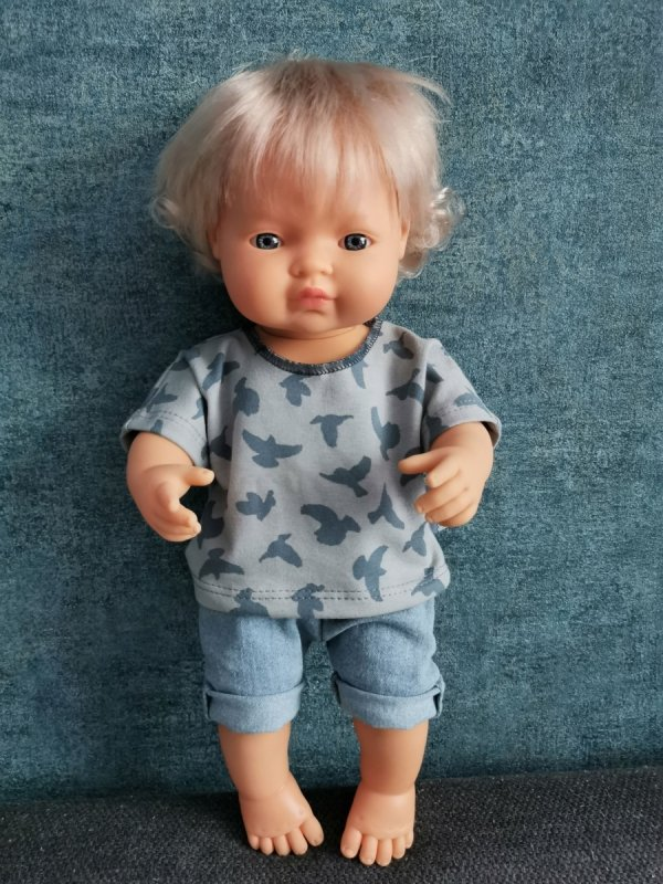 Olimi, komplet t-shirt z ptaszkami + jeansowe szorty