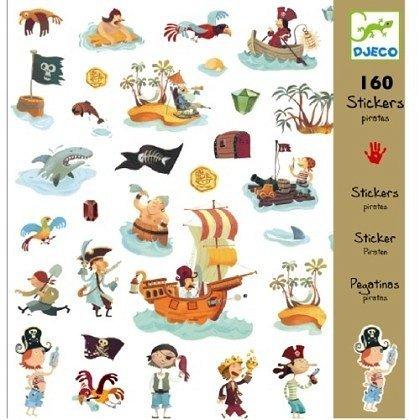 Djeco, zestaw naklejek z piratami, 160szt.