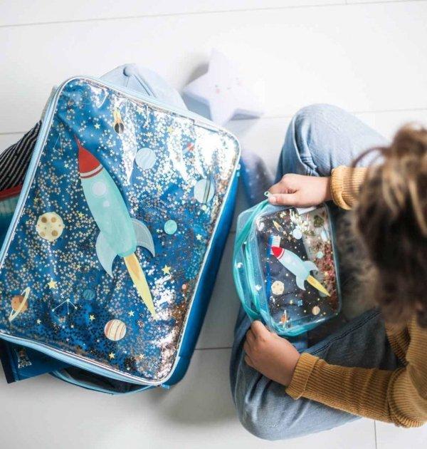 ALLC, walizeczka z brokatem, kosmos