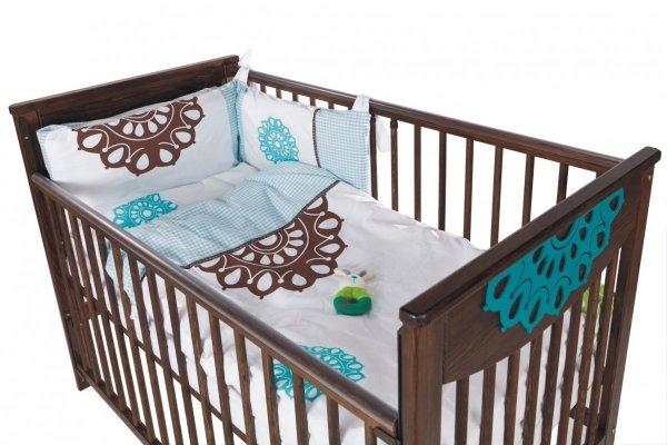 malooni, Koronka, łóżeczko 120x60cm, Opuszczany bok, czekolada