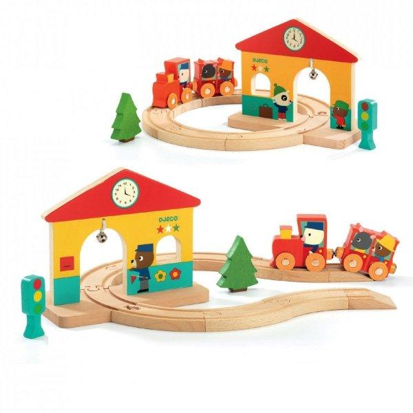 Djeco, drewniana, mini stacja kolejowa