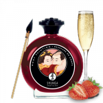 Shunga Strawberries & Champagne Bodypaint 100 ml - jadalna farbka do ciała (musujące wino truskawkowe)