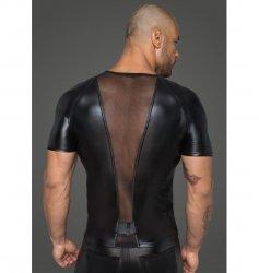 H056 Men's T-shirt made of powerwetlook with 3D net inserts L
