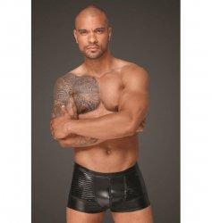 H054 Powerwetlook men's shorts with decorative PVC pleats M