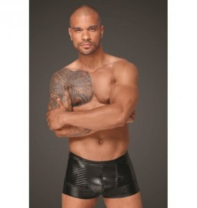 H054 Powerwetlook men's shorts with decorative PVC pleats L