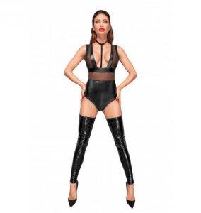 Noir handmade F183 Body z szerokimi ramiączkami, tiulowymi wstawkami i aksamitnym chokerem M (czarny)