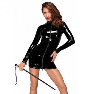Noir handmade F187 Mini sukienka z PVC z czarnym dwukierunkowym zamkiem z przodu S (czarny)