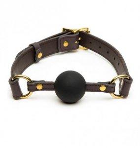 Coco de Mer - skórzany knebel Leather Ball Gag (brązowy)