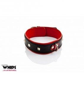 Whips Obroża damska 4 cm (czarno - czerwona))