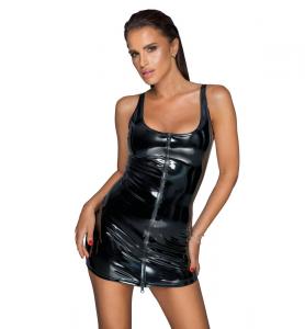 Noir handmade F232 PVC Sukienka z dwukierunkowym zamkiem S (czarny)