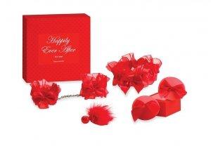 Bijoux Indiscrets Happily Ever After Red Label - zestaw akcesoriów intymnych (kajdanki + podwiązki + nasutniki - piórko)