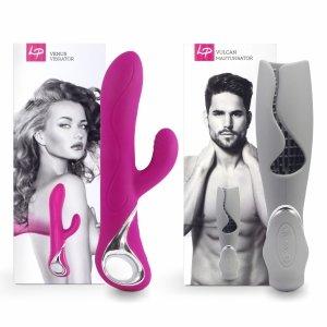 LoversPremium Venus & Vulcan Couples Set Pink & Grey - wibrator i masturbator w zestawie dla par (różowy i szary)