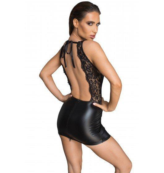 Noir handmade F214 Koronkowa mini sukienka z głębokim dekoltem na plecach M (czarny)