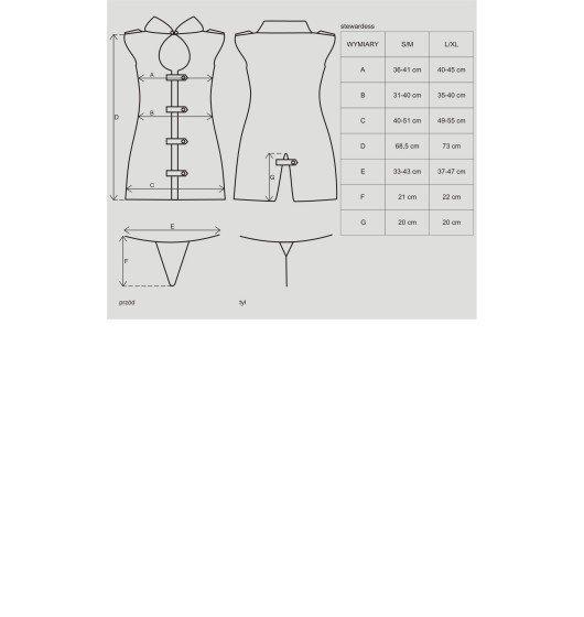 Obsessive Stewardess kostium 3-częściowy S/M