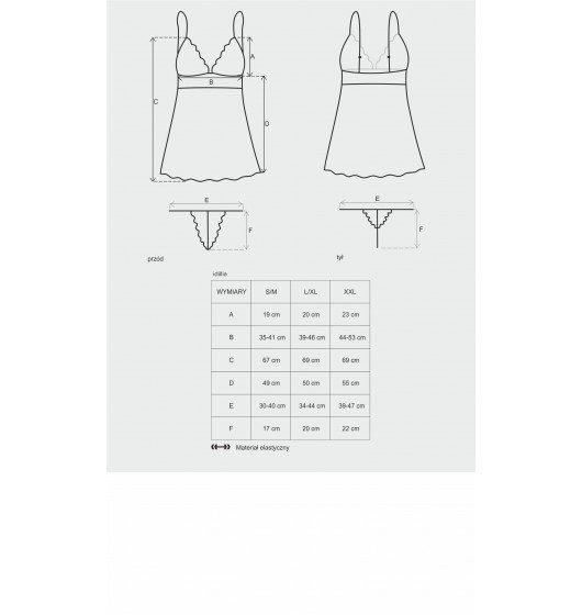 Obsessive Idillia koszulka babydoll i stringi czarne L/XL (czarny)