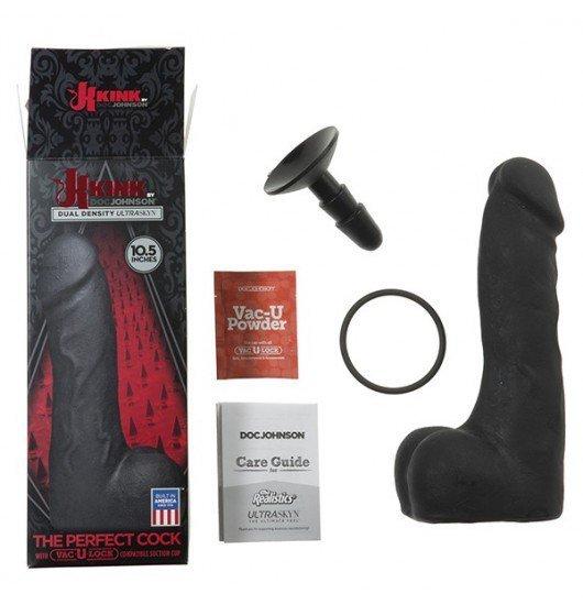 Kink by Doc Johnson wielkie czarne dildo - The Perfect Cock With Removable Vac-U-Lock™ Suction Cup 10.5'' sztuczny penis (czarny)