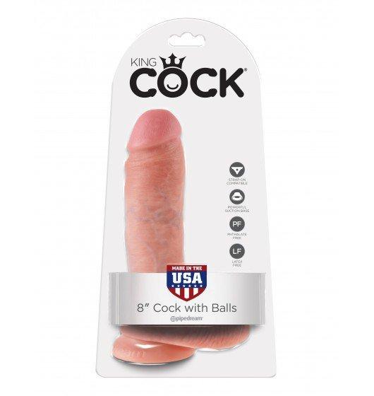 King Cock dildo - 8'' Cock with Balls sztuczny penis (cielisty)