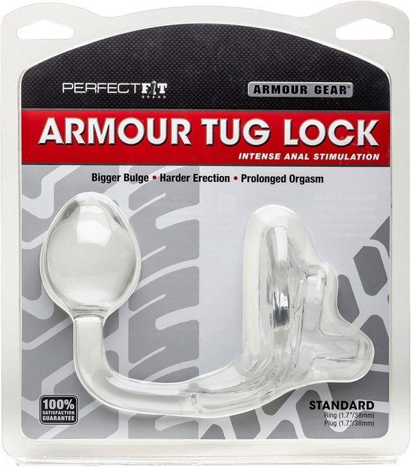 Perfect Fit Armour Tug Lock Clear - pierścień na penisa z kulką analną (przezroczysty)