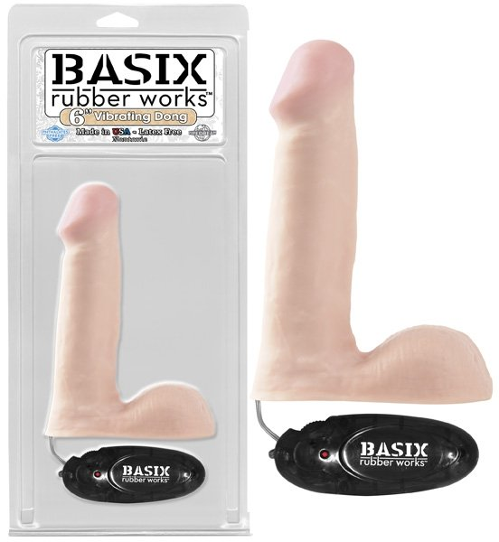 "Basix 6"" Vibrating Dong Flesh"