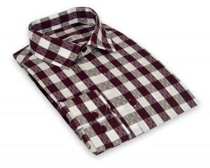 Koszula męska Slim - w biało-bordową kratę