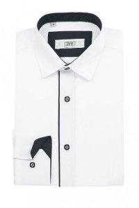 Koszula dziecięco-młodzieżowa slim - biała z czarnymi dodatkami