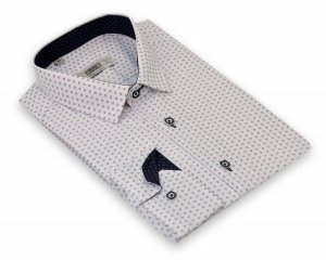 Koszula z długim rękawem Slim Fit/Slim Line- biała w granatowy wzorek